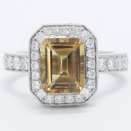 Double Halo Citrine Stone Cocktail Ring 14k White Gold E93667
