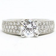 E93318 Milgrain Design Diamond Engagement European Band 14k White Gold