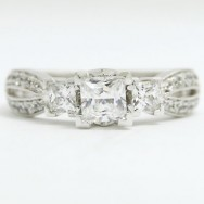 E93321-2 Split Band Princess Cut Diamond Engagement Ring 14k White Gold