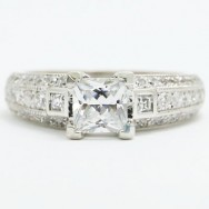 E93517-1 Princess Cut Diamond Accent Engagement Ring 14k White Gold.jpg