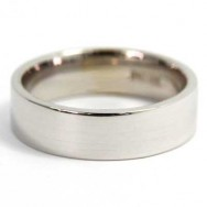 6mm Flat Wedding Band 10k White Gold