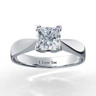Princess Cut Four Claw Tapered Diamond Solitaire Setting 14k White Gold