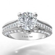 Pave Set 4 Prong Engagement Ring 14k White Gold
