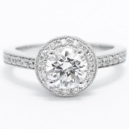 Pave Set Designer Engagement Ring 14k White Gold