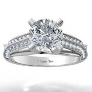Pave Style Engagement Setting 14k White Gold