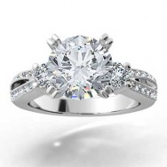 Split Band Diamond Engagement Ring 14k White Gold