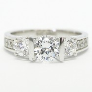 Tension Style Three Stone Engagement Ring 14k White Gold