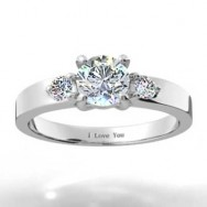 Three Stone Round Brilliant Setting 14k White Gold