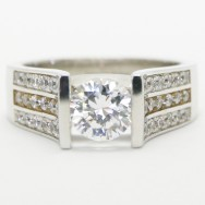 Triple Row Round Brilliant Cut Engagement Ring 14k White Gold