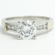 Two Tone Side Stone Engagement Ring 14k White & Yellow Gold