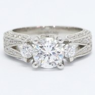 Wide Band Pave Set Engagement Ring 14k White Gold