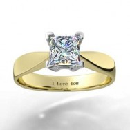 Double Gallery Tapered Engagement Ring 14k Yellow Gold