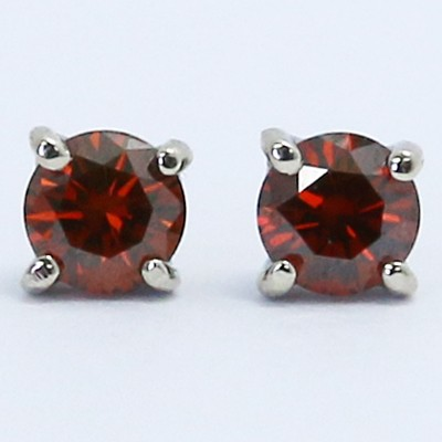 0.51 Carats Red Diamond Studs Earrings 14k White Gold RE51