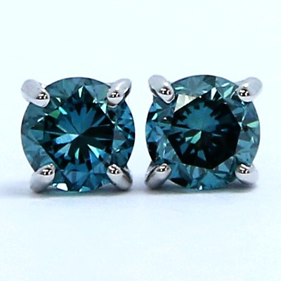0.52 Carats Blue Diamond Studs Earrings 14k White Gold OC52