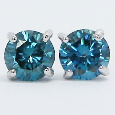 0.60 Carats Blue Diamond Studs Earrings 14k White Gold SK60
