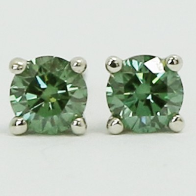 0.60 Carats Green Diamond Studs Earrings 14k White Gold AP60