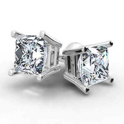 0.65 Carats Princess Studs Earrings 14k White Gold PR65
