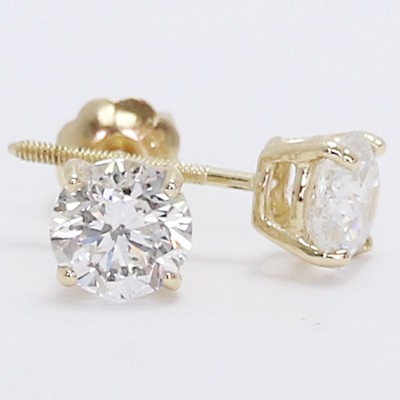 0.90 Carats Round Studs Earrings 14k Yellow Gold BRY90