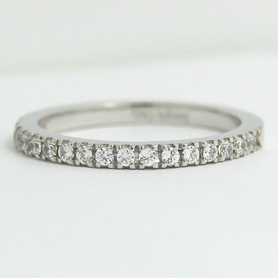 1.8mm Thin French Cut Pave Diamond Band 14k White Gold