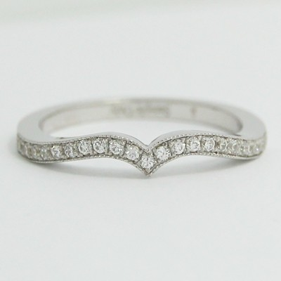 2.0mm Fitted Diamond Wedding Band 14k White Gold