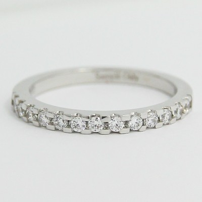 2.0mm French Cut Pave Wedding Band 14k White Gold