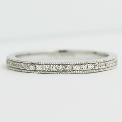 2.0mm Micro Pave Set Thin Eternity Band 14k White Gold