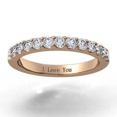 2.0mm French Cut Pave Wedding Band 14k Rose Gold