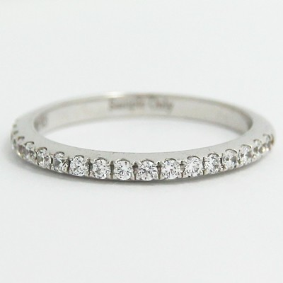 2.0mm Thin French Cut Pave Diamond Band 14k White Gold