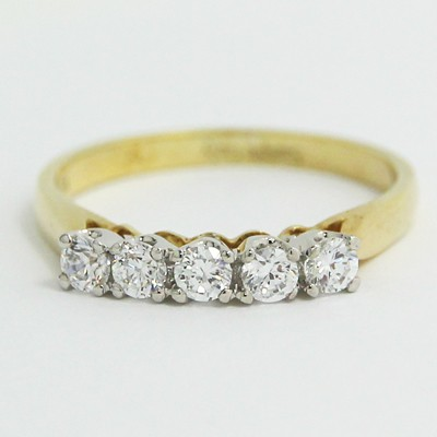 2.2mm Cathedral Setting Five Diamonds Wedding Band 14k Yellow Gold