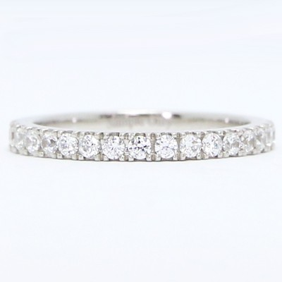 2.2mm French Cut Diamond Wedding Band 14k White Gold