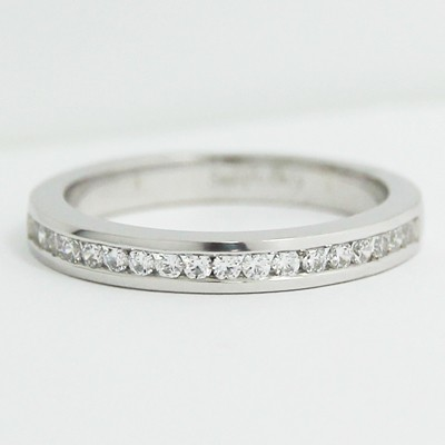 2.3mm Half Eternity Channel Wedding Band 14k White Gold