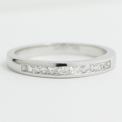 2.4mm Channel Set Princess Cut Diamond Band 14k White Gold