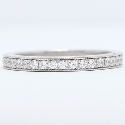 2.4mm Milgrained Pave Diamond Wedding Band 14k White Gold