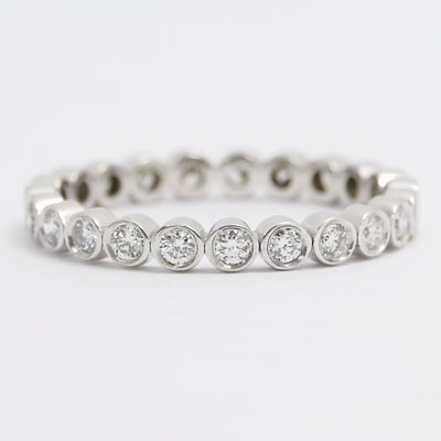 BWB 2.5mm Bezel Set Eternity Wedding Band in 14k White Gold