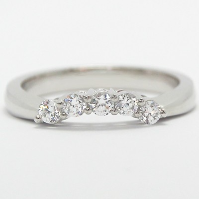 2.6-1.8mm Five Stone Cathedral Curved Band 14k White Gold