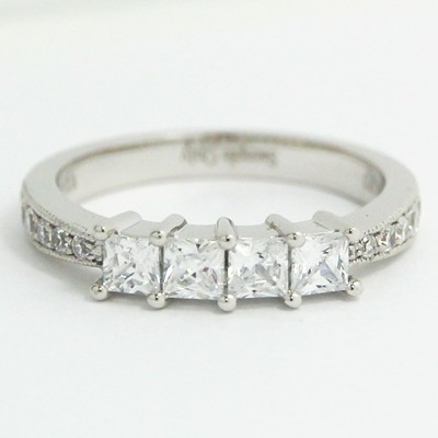 2.7-2.0mm Princess Cut Shared Prong Tapered Band 14k White Gold