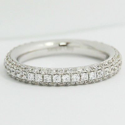 2.7mm Rounded Micro Pave Diamond Band 14k White Gold