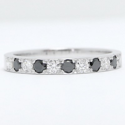 2.8mm Black and White Diamond Wedding Band 14k White Gold