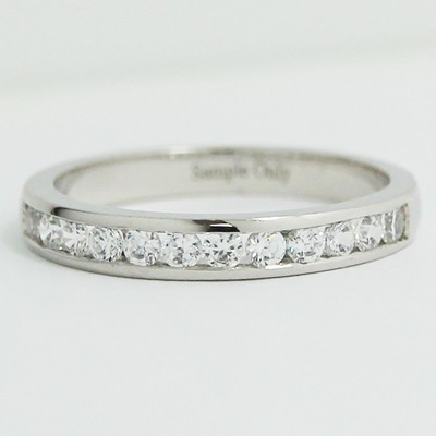 2.8mm Channel Set Diamond Band 14k White Gold