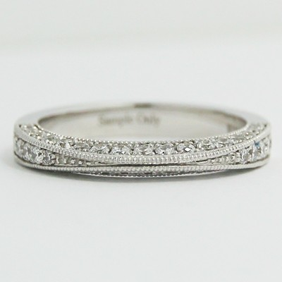 2.9mm Tapered Half Eternity Milgrain Band 14k White Gold