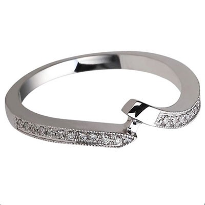 2mm Fitted Milgrained Wedding Band 14k White Gold W3721-1