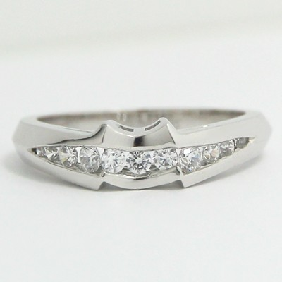 3.0-4.5mm Custom Fitted Channel Wedding Band 14k White Gold