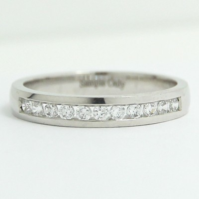 3.0mm Channel Set Diamond Wedding Band 14k White Gold