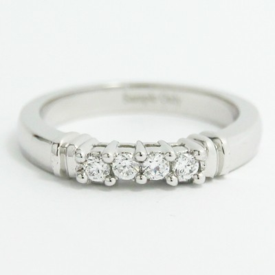3.0mm Shared Prong Cathedral Wedding Band 14k White Gold