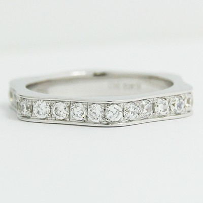 3.10mm Hexagonal Diamond Wedding Band 14k White Gold L3819