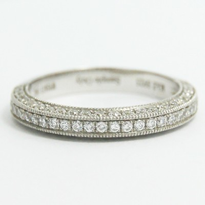 3.1mm Triple Sided Pave Set Wedding Band 14k White Gold