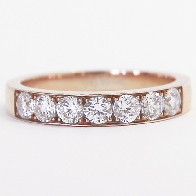 3.2-3.6mm Channel Set Wedding Band 14k Rose Gold