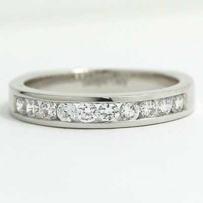3.2mm Channel Set Euro Shank Diamond Band 14k White Gold