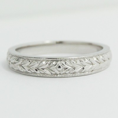3.3-3.9mm Antique Style Milgrain Wedding Band 14k White Gold