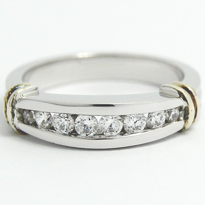 3.3-5.5mm Two Tone Channel Set Wedding Band 14k White & Yellow Gold